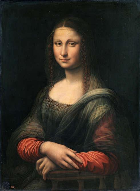 Leonardo da Vinci-Werkstatt, Mona Lisa (vor der Restaurierung), 1507/8–1513/16, Öl/Holz, 76.3 x 57 cm (Museo Nacional del Prado, Madrid)