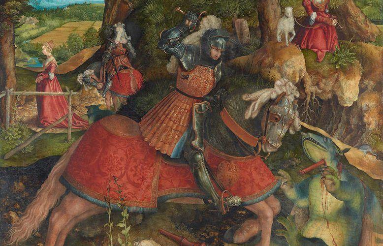Leonhard Beck, Hl. Georg im Kampf mit dem Drachen, Detail, um 1513/14, Öl/Fichtenholz, 136,7 cm × 116,2 cm (Kunsthistorisches Museum Wien, Gemäldegalerie)