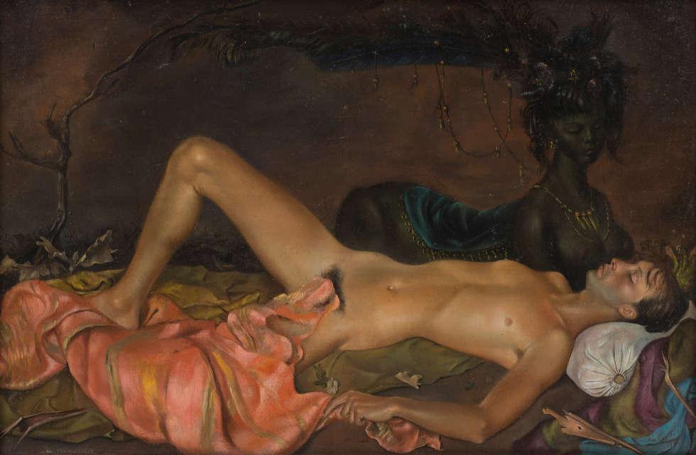 Leonor Fini, Erdgottheit, die den Schlaf eines Jünglings bewacht, 1946, Öl/Lw, 27,9 x 41,3 cm (© Weinstein Gallery, San Francisco and Francis Naumann Gallery, New York / VG Bild-Kunst, Bonn 2020)