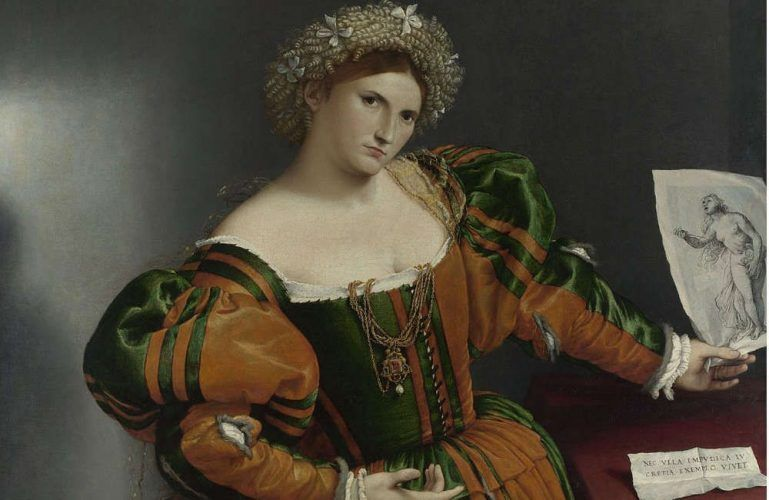 Lorenzo Lotto, Porträt einer Frau als Lukretia, Detail, um 1530–1532, Öl/Lw, 96.5 x 110.6 cm (© The National Gallery, London)
