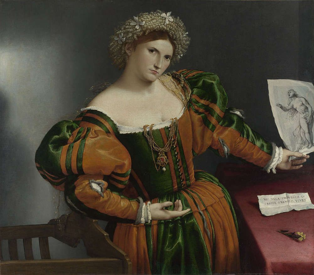 Lorenzo Lotto, Porträt einer Frau als Lukretia, um 1530–1532, Öl/Lw, 96.5 x 110.6 cm (© The National Gallery, London)