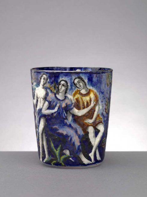 Lotte Fink, Vase, 1922; farbloses Glas, Emailmalerei, Ausführung: eine böhmische Manufaktur für J. & L. Lobmeyr, Wien (© Peter Kainz/MAK)