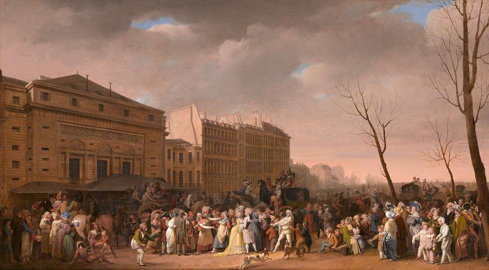 Louis-Léopold Boilly, Ein Karneval auf dem Boulevard du Crime, 1832, Öl/Lw, 61 × 108 cm (The Ramsbury Manor Foundation, Photo © courtesy the Trustees)