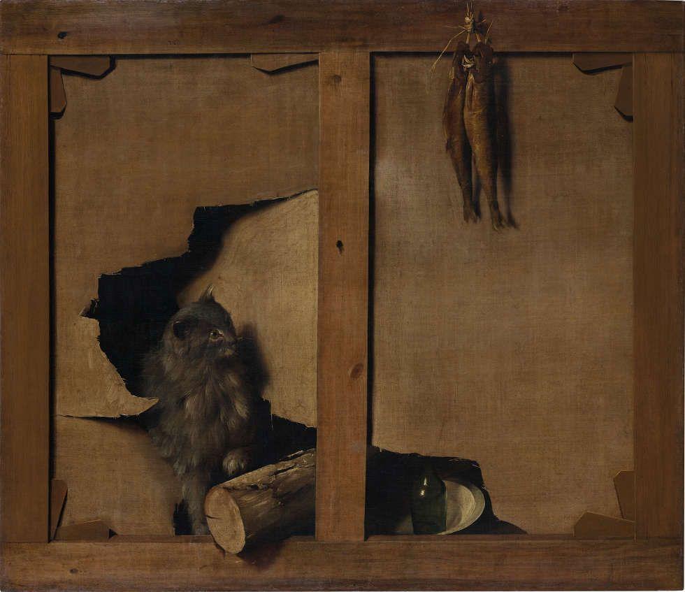 Louis-Léopold Boilly, Trompe l'Œil einer Bildrückseite mit Katze, Baumstumpf und einem vom Keilrahmen hängenden Fisch, 18./19. Jh., 85 x 96 cm, Öl/Leinwand (© Sammlung Henri und Farida Seydoux)
