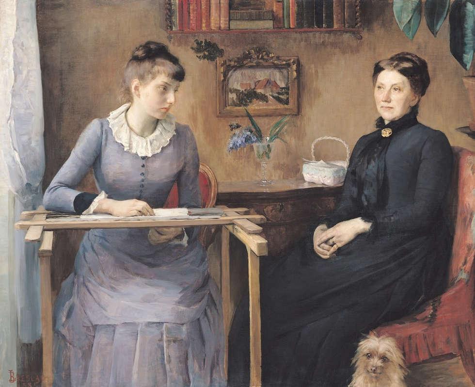 Louise-Catherine Breslau, zu Hause oder Intimität, 1885, Öl-Lw, 127 x 154 cm (Musée des beaux-arts de Rouen)