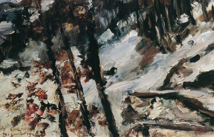 Lovis Corinth, Der Herzogstand am Walchensee im Schnee, Detail, 1922, Öl/Lw, 78 x 98 cm (Belvedere, Wien)