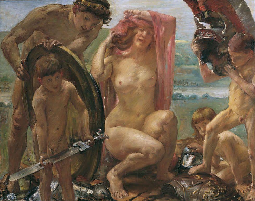 Lovis Corinth, Die Waffen des Mars, 1910, Öl auf Leinwand, 141,5 x 181 cm (Belvedere, Wien)