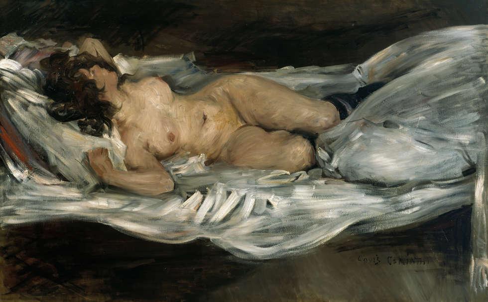 Lovis Corinth, Liegender weiblicher Akt, 1899, Öl auf Leinwand, 75,5 x 120,5 cm (Kunsthalle Bremen – Der Kunstverein in Bremen)
