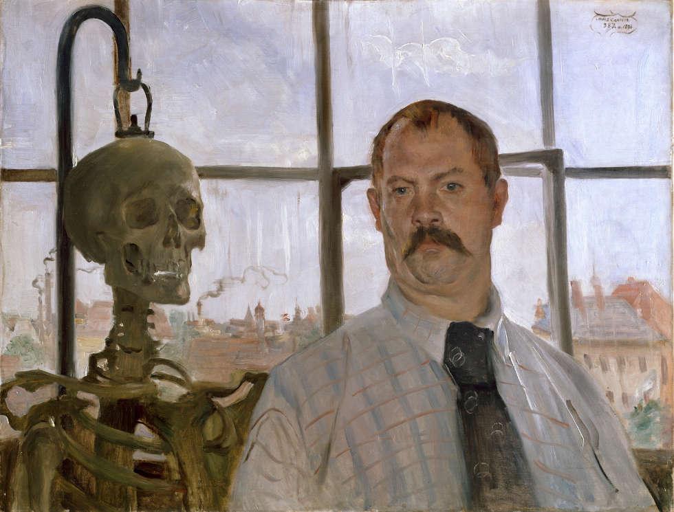 Lovis Corinth, Selbstbildnis mit Skelett, 1896 (Städtische Galerie im Lenbachhaus und Kunstbau, München)
