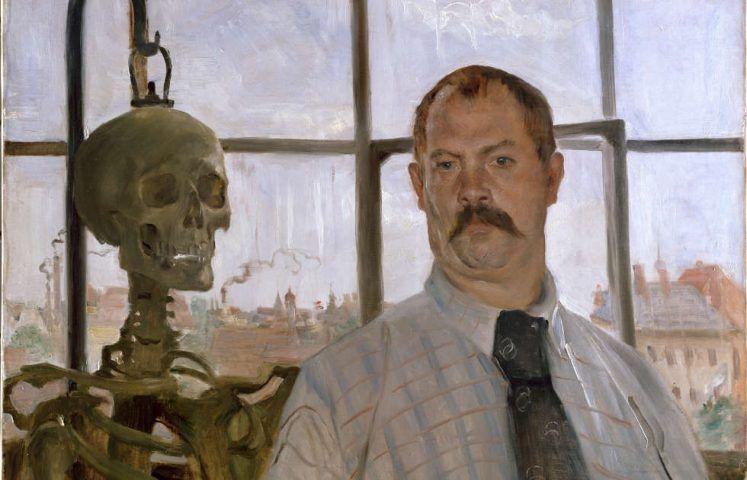 Lovis Corinth, Selbstbildnis mit Skelett, Detail, 1896 (Städtische Galerie im Lenbachhaus und Kunstbau, München)