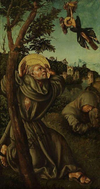 Lucas Cranach d. Ä., Stigmatisation des hl. Franziskus, um 1502/1503 (Foto: Erich Hussmann © Image Industry, Belvedere, Wien)