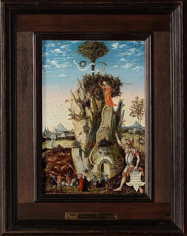 Lucas Cranach d. J., Allegorie der Tugend (Tugendberg), 1548 datiert, Lindenholz, 33,6 × 22,9 cm (Kunsthistorisches Museum, Gemäldegalerie, Inv.-Nr. 6080 © KHM-Museumsverband)