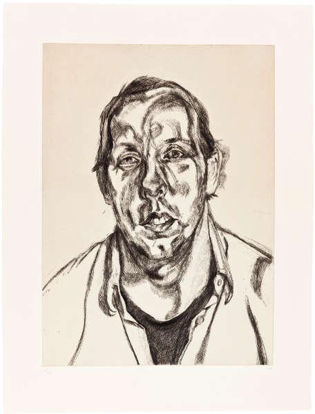Lucian Freud, David Dawson, 1998, Radierung, 28/46, Plattenmaß: 59,1 x 42,5 cm (Privatsammlung)