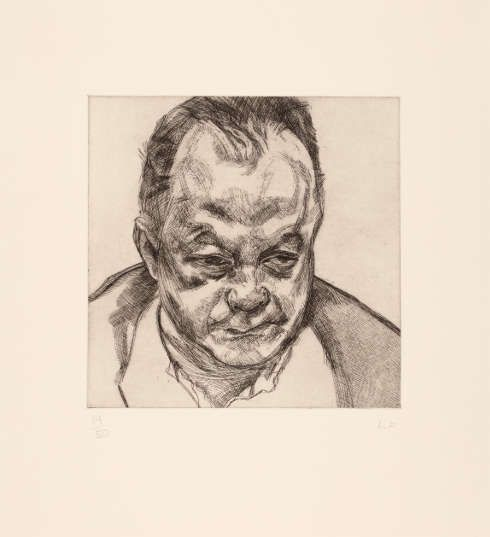 Lucian Freud, Head of Bruce Bernard, 1985, Radierung, 29,5 × 30 cm (Platte) (Privatbesitz, Köln, Foto: Städel Museum, © The Lucian Freud Archive / Bridgeman Images)