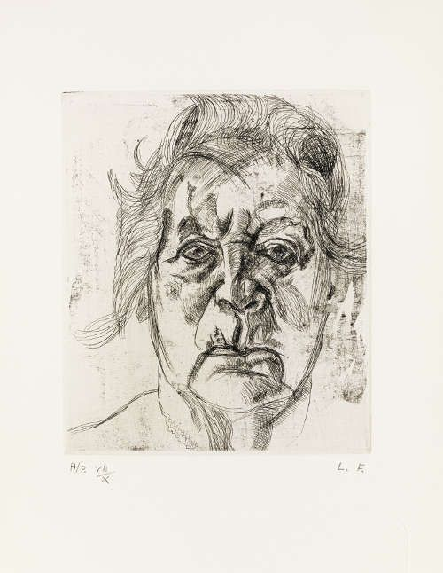 Lucian Freud, The Painter's Mother, 1982, Radierung, 29,5 x 24,2 cm (© The Lucian Freud Archive/Bridgeman Images UBS Art Collection)