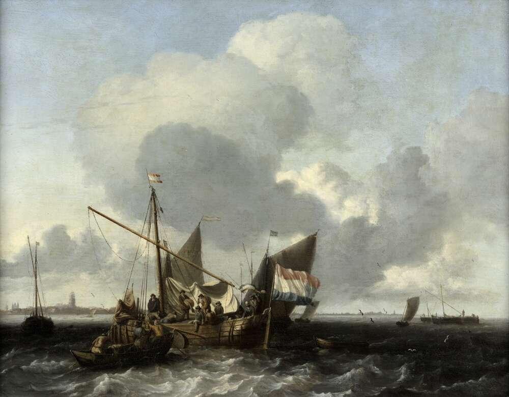 Ludolf Backhuyzen, Boote auf der Zuidersee vor Naarden, 1660–1663, Öl auf Eichenholz (WRM 2566)