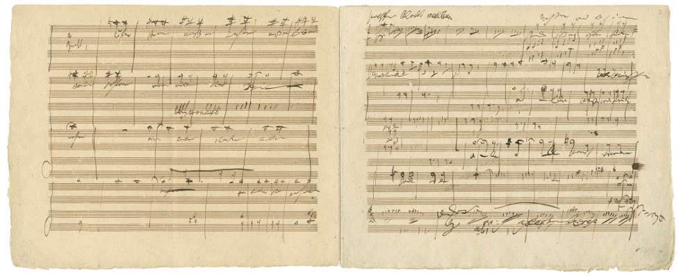 Ludwig van Beethoven (1770–1827) Skizzen zum Schlusschor der Sinfonie Nr. 9 in d-Moll op. 125, 4. Satz, Autograph, Sign. A 50, 1823/24 (© Wien, Gesellschaft der Musikfreunde in Wien, Archiv–Bibliothek–Sammlungen)