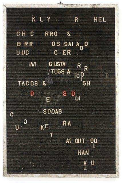 Lutz Bacher, Menu, 2002, mixed media, Collection of Robin Wright