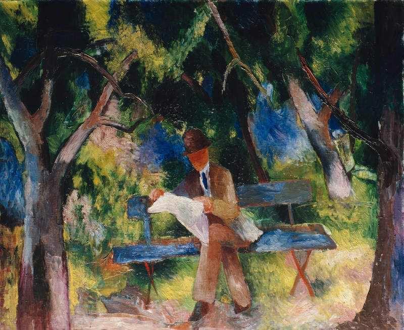 August Macke, Lesender Mann im Park, 1914, Öl auf Leinwand, 86,5 x 100 cm, Museum Ludwig, Köln, © Rheinisches Bildarchiv Köln, rba_c000050.