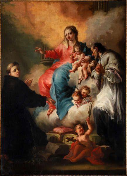 Madonna mit Jesuskind und hll. Antonius von Padua und Johannes Nepomuk, Ende 18. Jahrhundert, Venezianisch, Öl/Lw (Dommuseum Salzburg (Leihgabe der Pfarrkirche Leopoldskron) / J.Kral)
