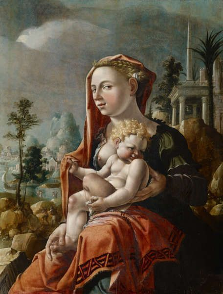 Maerten van Heemskerck, Madonna mit Kind vor einer Landschaft, 1530, Öl/Holz, 90 x 70 cm (Kunstmuseum Basel, Vermächtnis von Frau Antoinette Frey-Clavel)