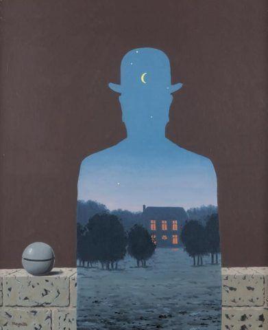 René Magritte, L'Heureux Donateur [Der glückliche Stifter], 1966, Öl auf Leinwand, 55,5 × 45,5 cm (Collection du Musée d'Ixelles, Brüssel)