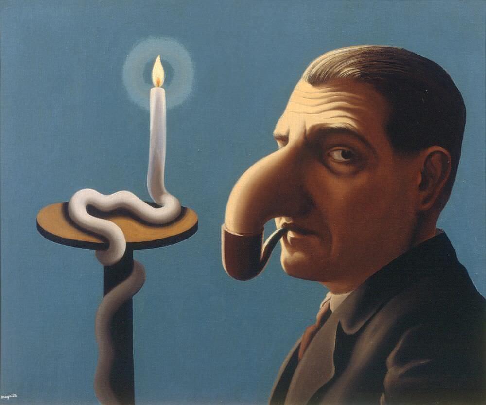 René Magritte, La Lampe philosophique [Die philosophische Lampe], 1936, Öl auf Leinwand, 46 x 55 cm (Privatsammlung © VG Bild-Kunst, Bonn 2017)