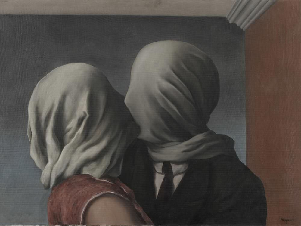 René Magritte, Les Amants [Die Liebenden], 1928, Öl auf Leinwand, 54 × 73,4 cm (The Museum of Modern Art, New York. Gift of Richard S. Zeisler, 1998)