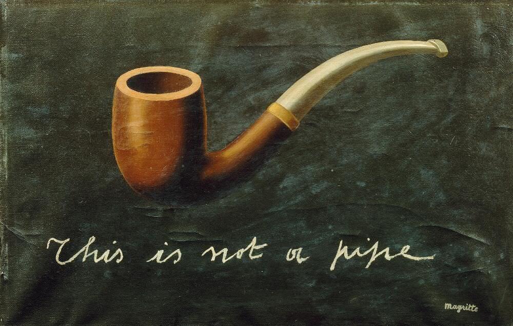 René Magritte, This is not a pipe [Das ist keine Pfeife], 1935, Öl auf Leinwand, 27 × 41 cm (Privatsammlung)