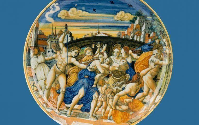 Anonym, Bethlehemitischer Kindermord, nach Raffael und Marcantonio Raimondi, Detail, Urbino 1535 bis 1555, Schale (MAK, Glas und Keramik, Inv.-Nr. KE 3597)