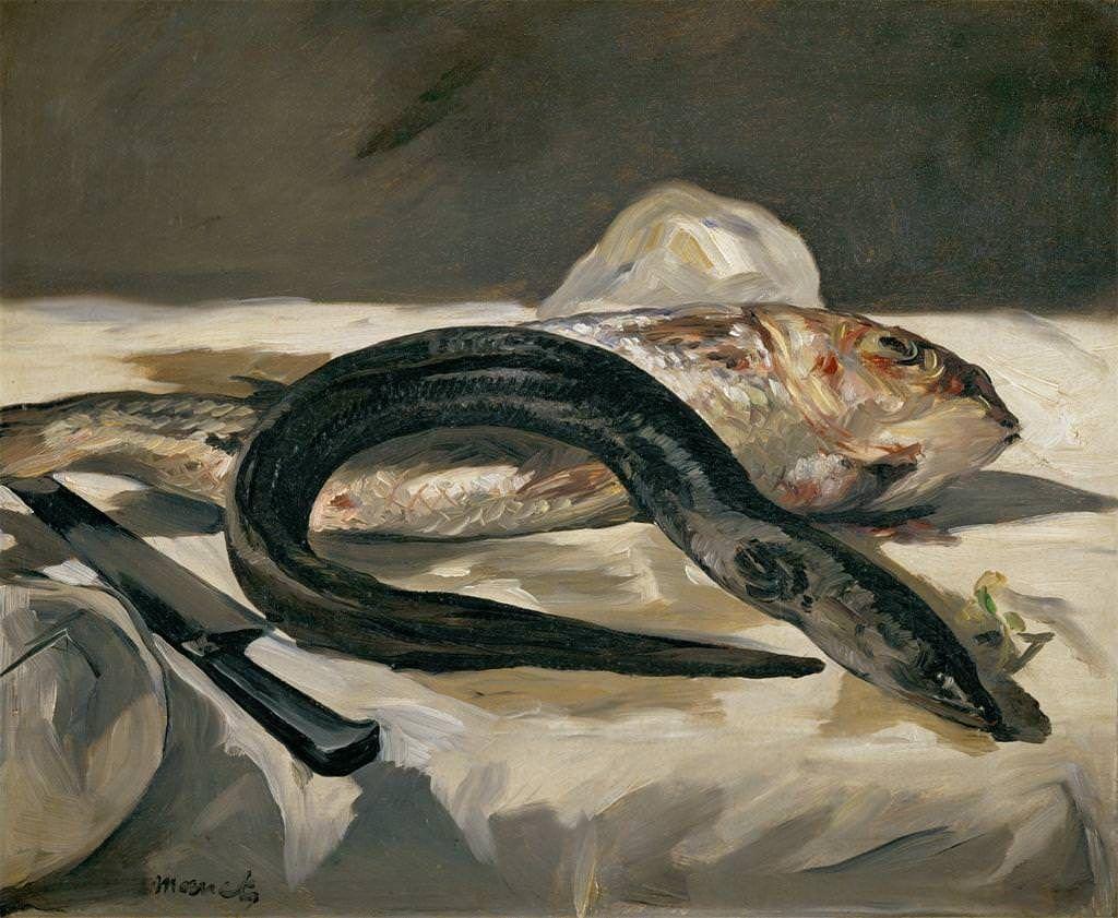 Edouard Manet, Aal mit Fischen, 1864, Öl auf Leinwand, 38 x 46 cm (Musée d'Orsay, Paris)