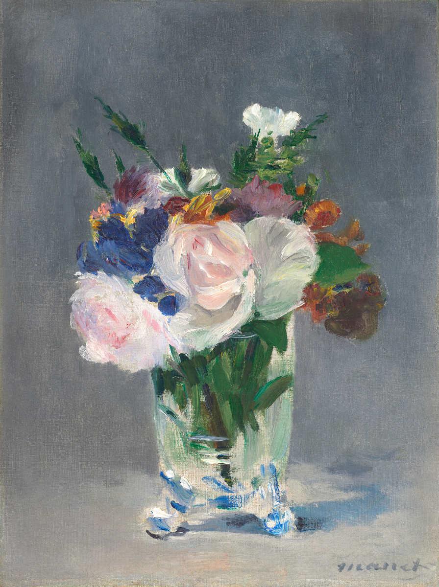 Edouard Manet, Fleurs dans un vase de cristal [Blumen in einer Kristallvase], um 1882, Öl auf Leinwand, 32,7 x 24,5 cm (Washington, National Gallery of Art, Ailsa Mellon Bruce Collection, Inv. 1970.17.37)