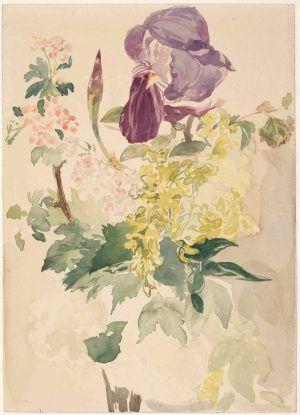 Edouard Manet, Blumenstück mit Schwertlilie, Goldregen und Geranie, 1880, Aquarell (Albertina, Wien)