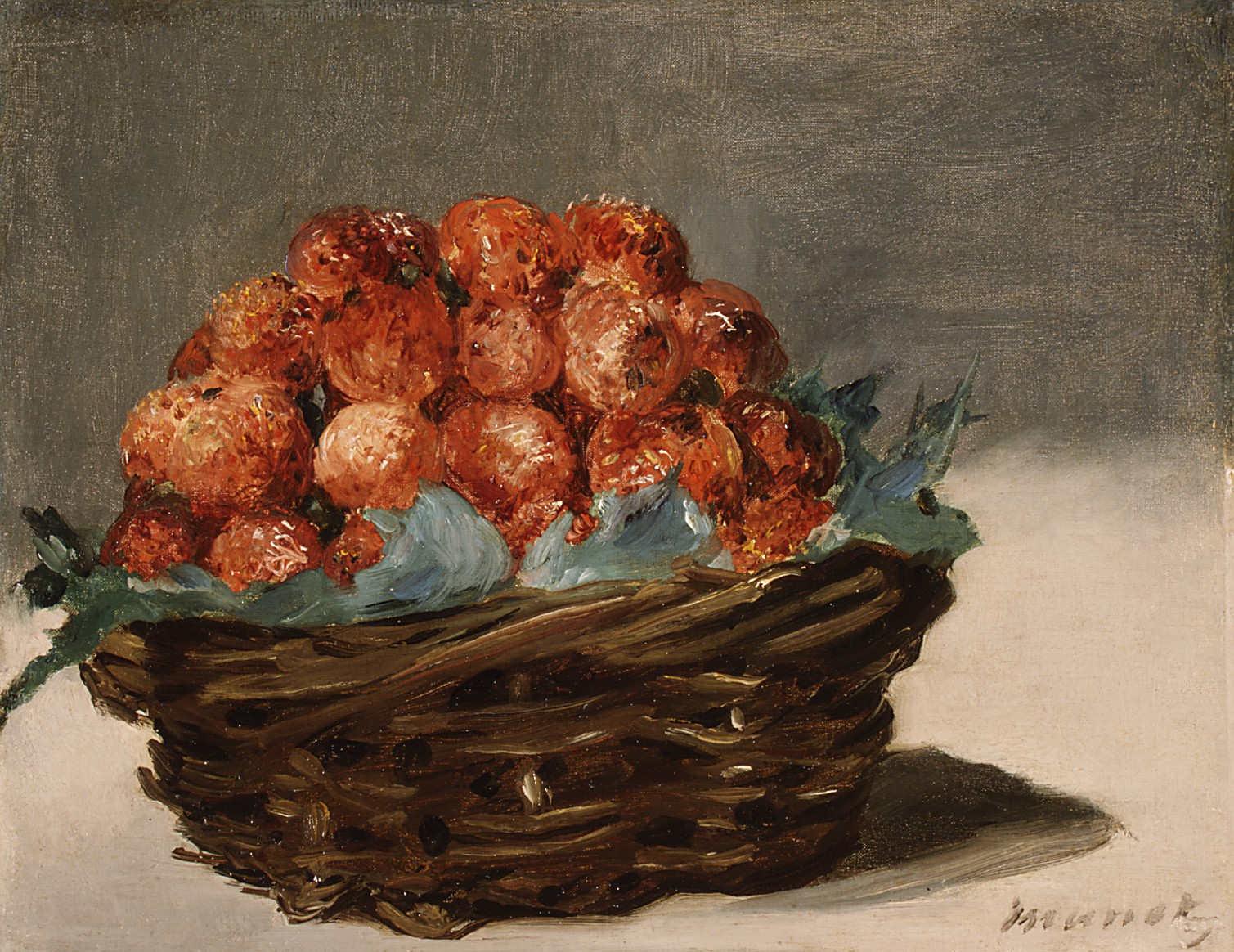 Edouard Manet, Erdbeerkorb, 1882, Öl auf Leinwand, 21,3 x 26,7 cm (The Metropolitan Museum of Art, New York, Gift of Mr. and Mrs. Nate B. Spingold, 1956)