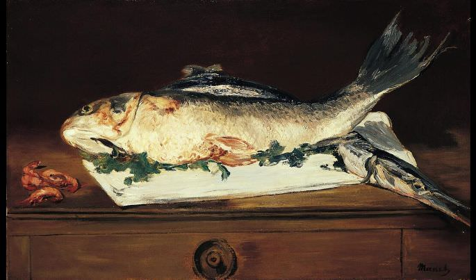 Edouard Manet, Fische und Shrimps, 1864, Öl auf Leinwand, 44.8 x 73 cm (Norton Simon Museum)