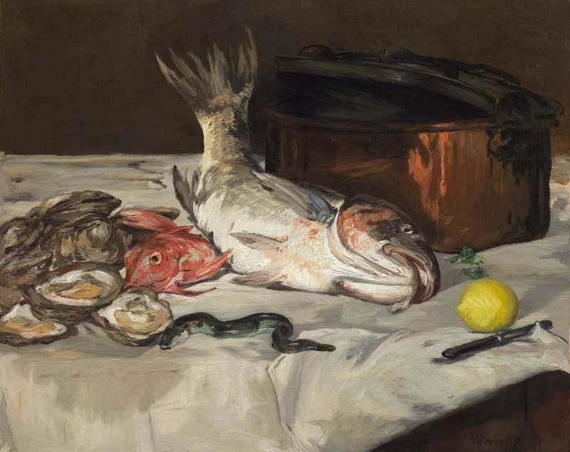 Edouard Manet, Fisch, 1864, Öl auf Leinwand, 73,4 x 92,1 cm (The Art Institute of Chicago, Mr. and Mrs. Lewis Larned Coburn Memorial Collection, 1942.311)