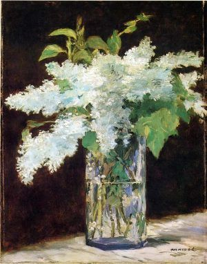 Edouard Manet, Lilas blanc dans un vase de verre [Der Fliederstrauß], um 1882, Öl auf Leinwand, 54 cm × 42 cm (Nationalgalerie Staatliche Museen Preußischer Kulturbesitz, Berlin)