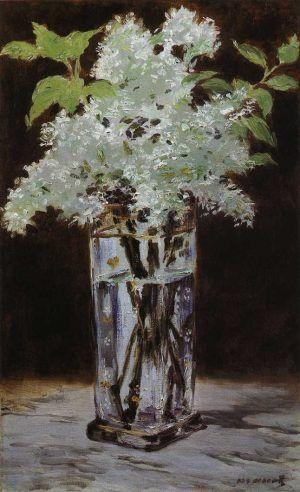 Edouard Manet, Lilas blancs dans un vase de cristal [Weißer Flieder in einer Kristallvase], 1882 oder 1883, Öl auf Leinwand, 56.2 x 34.93 cm (Nelson-Atkins Museum of Art, Gift of Henry W. and Marion H. Bloch)