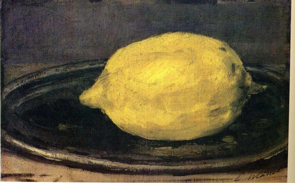 Edouard Manet, Die Zitrone, 1880/81, Öl auf Leinwand, 14 x 22 cm (Musée d'Orsay, Paris)