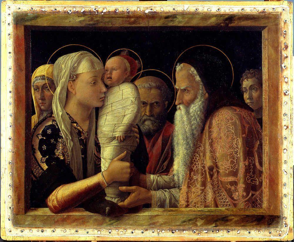 Andrea Mantegna, Darbringung im Tempel, 1465–1466, Öl/Lw, auf Holz, 77.1 x 94.4 cm (Gemäldegalerie, Berlin © Gemäldegalerie der Staatlichen Museen zu Berlin - Preußischer Kulturbesitz / photo: Jörg P. Anders)