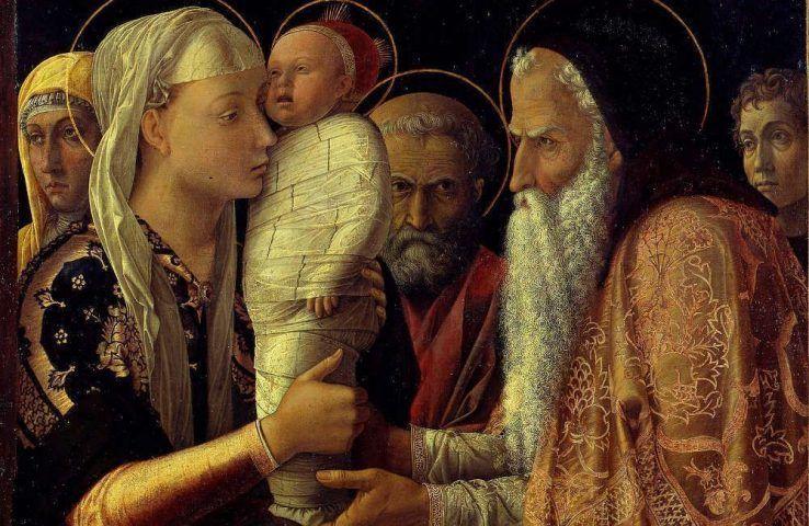 Andrea Mantegna, Darbringung im Tempel, Detail, 1465–1466, Öl/Lw, auf Holz, 77.1 x 94.4 cm (Gemäldegalerie, Berlin © Gemäldegalerie der Staatlichen Museen zu Berlin - Preußischer Kulturbesitz / photo: Jörg P. Anders)