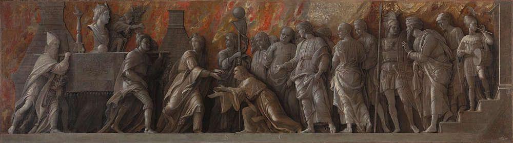 Andrea Mantegna, Die Einführung des Kultes der Kybele in Rom, 1505–6, Kleisterfarbe auf Leinen, 76.5 x 273 cm (© The National Gallery, London)