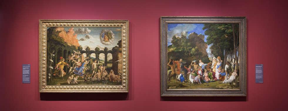 Mantegna, Minerva und Bellini, Götterfest, Ausstellungsansicht: Mantegna und Bellini. Meister der Renaissance, Gemäldegalerie, 2019, © Staatliche Museen zu Berlin / David von Becker