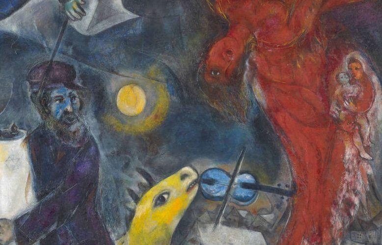 Marc Chagall, Der Engelssturz, Detail, 1923/33/47, Öl auf Leinwand (Kunstmuseum Basel, Depositum aus Privatsammlung, VG Bild-Kunst, Bonn 2019, Foto: Martin P. Bühler)