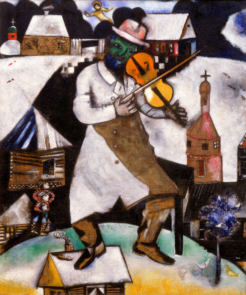 Marc Chagall, Le violoniste [Der Geigenspieler], 1912/13 (© Marc Chagall, c/o Pictoright Amsterdam/Chagall, Collection Stedelijk Museum Amsterdam, on loan from the Cultural Heritage Agency of the Netherlands)