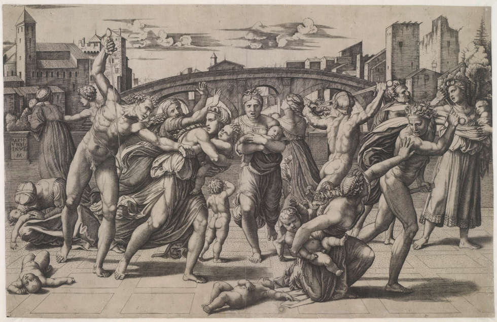 Marcantonio Raimondi nach Raffael, Der Bethlehemitische Kindermord, um 1510, Kupferstich, 27,4 x 42,7 cm (Albertina, DG1970/270)