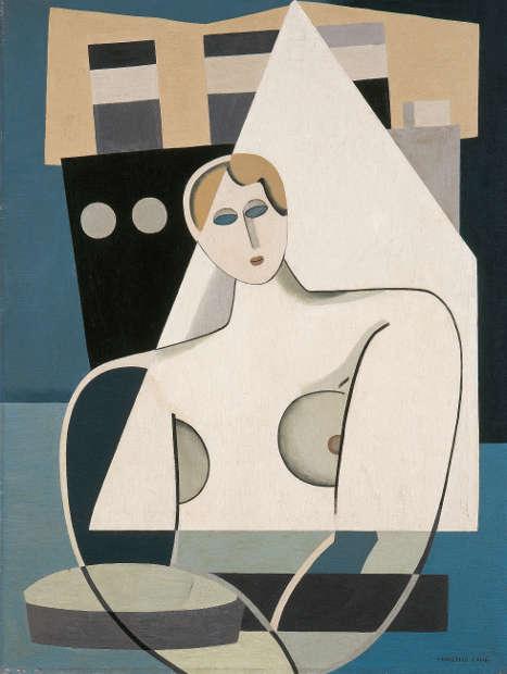 Marcelle Cahn, Femme et Voillier [Frau und Segelschiff], 1926–1927, Öl auf Leinwand, 66 x 50 cm (Musée d'Art moderne et contemporain, Strasbourg, Foto: Musées de Strasbourg, A. Plisson)
