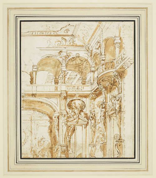 Marco Ricci, Raum mit einem von Atlanten gestützten Balkon, um 1726 (Royal Collection Trust/© Her Majesty Queen Elizabeth II 2016)