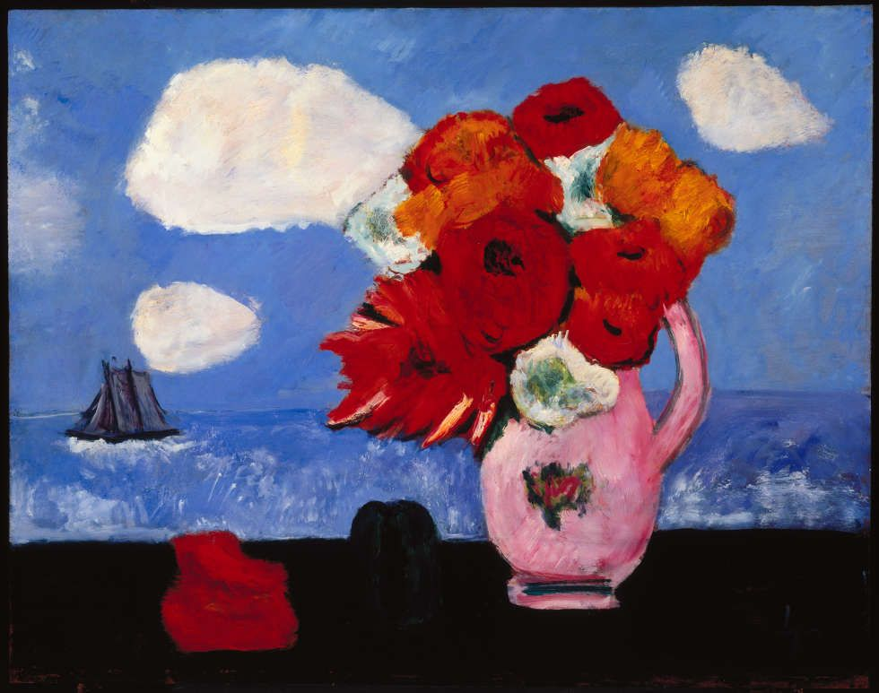 Marsden Hartley, Summer Clouds and Flowers, 1942, Öl/Karton, 55.9 x 71.1 cm (Brooklyn Museum, Bequest of Edith and Milton Lowenthal, 1992.11.19. © artist's estate)