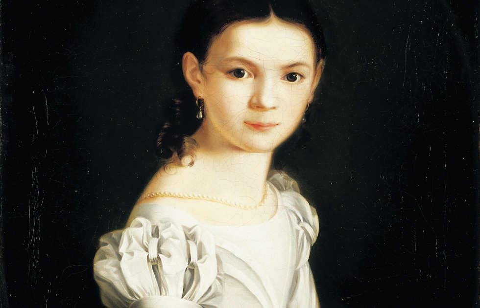 Maria Angelika Weiß, Mädchenbildnis, Detail, 1826, Öl auf Leinwand, 62,5 x 49,5 cm (Museum Georg Schäfer, Schweinfurt © Museum Georg Schäfer, Schweinfurt)